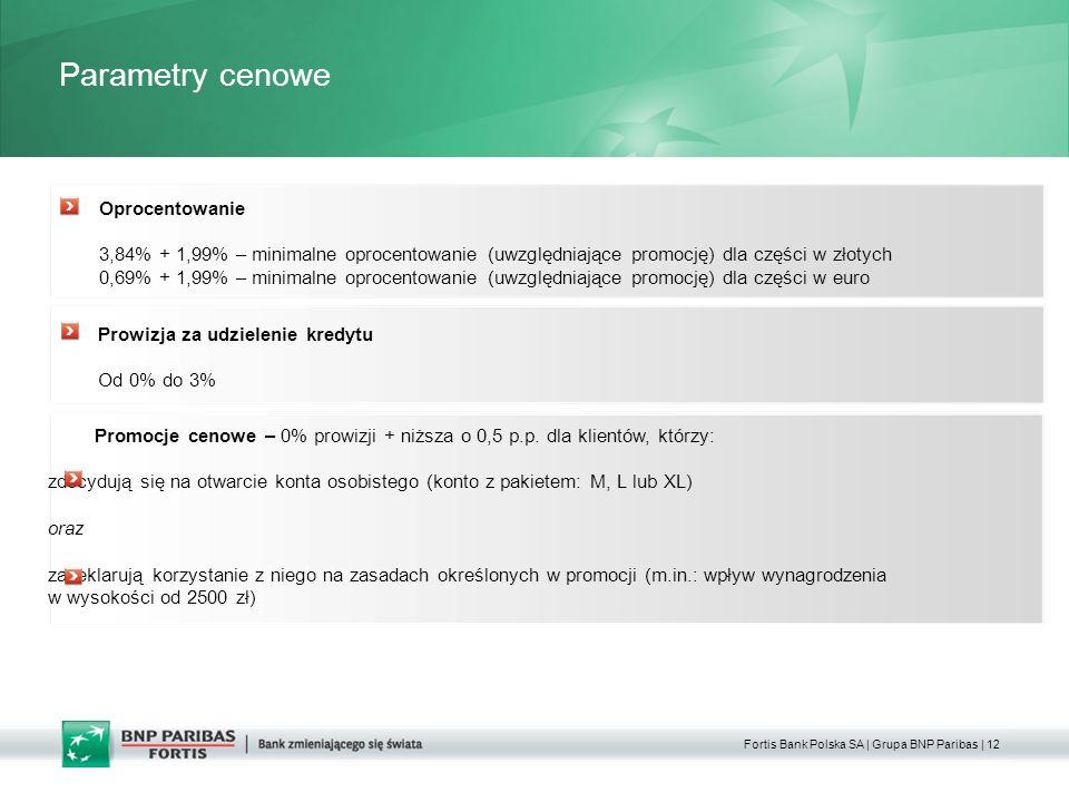 Fortis Bank Polska SA | Grupa BNP Paribas | 12 Parametry cenowe Okres kredytowania Oprocentowanie 3,84% + 1,99% – minimalne oprocentowanie (uwzględniające promocję) dla części w złotych 0,69% + 1,99% – minimalne oprocentowanie (uwzględniające promocję) dla części w euro Prowizja za udzielenie kredytu Od 0% do 3% Promocje cenowe – 0% prowizji + niższa o 0,5 p.p.