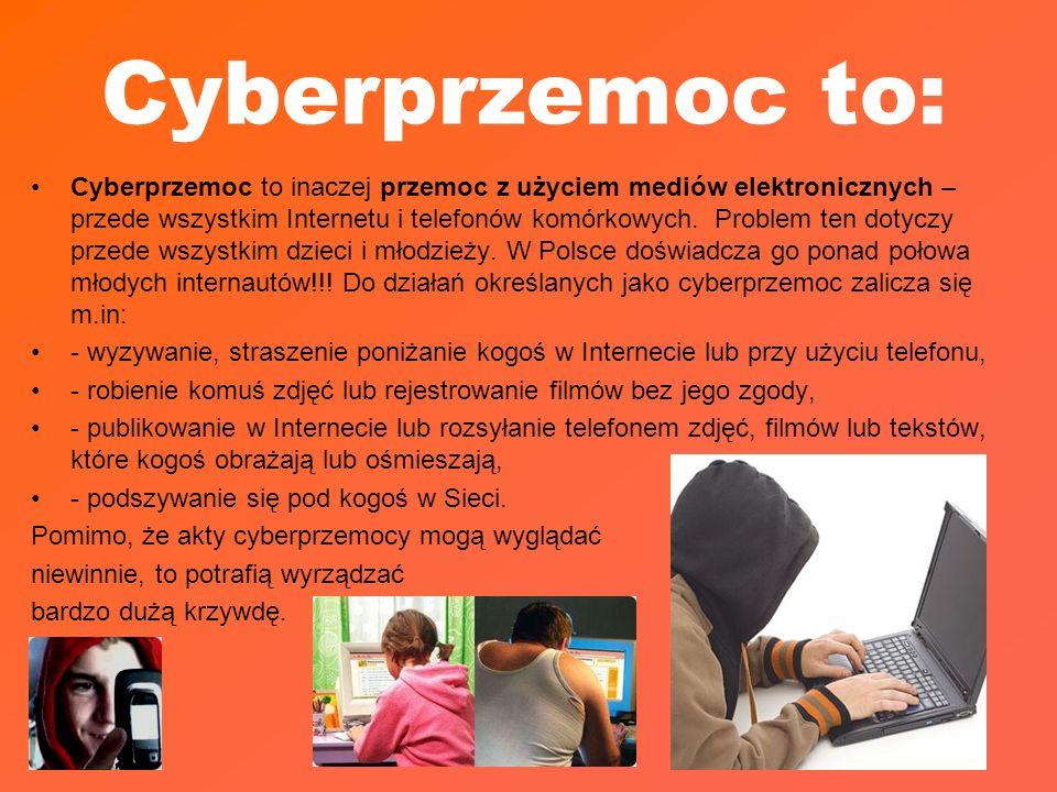 Cyberprzemoc to: Cyberprzemoc to inaczej przemoc z użyciem mediów elektronicznych – przede wszystkim Internetu i telefonów komórkowych. Problem ten do