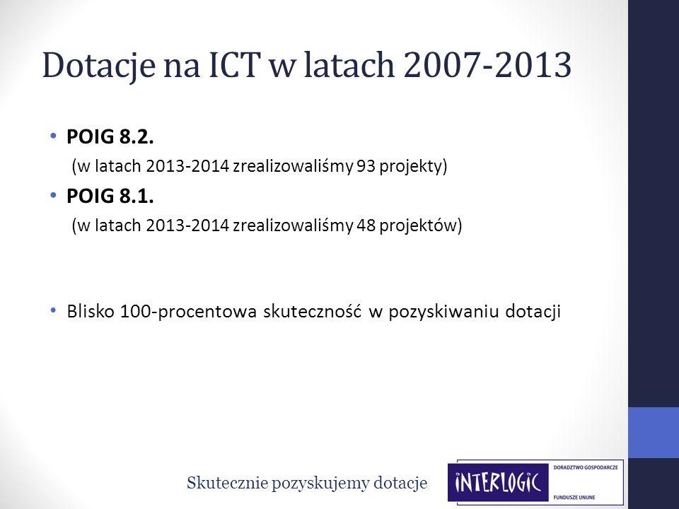 Dotacje na ICT w latach 2007-2013 POIG 8.2. (w latach 2013-2014 zrealizowaliśmy 93 projekty) POIG 8.1. (w latach 2013-2014 zrealizowaliśmy 48 projektó