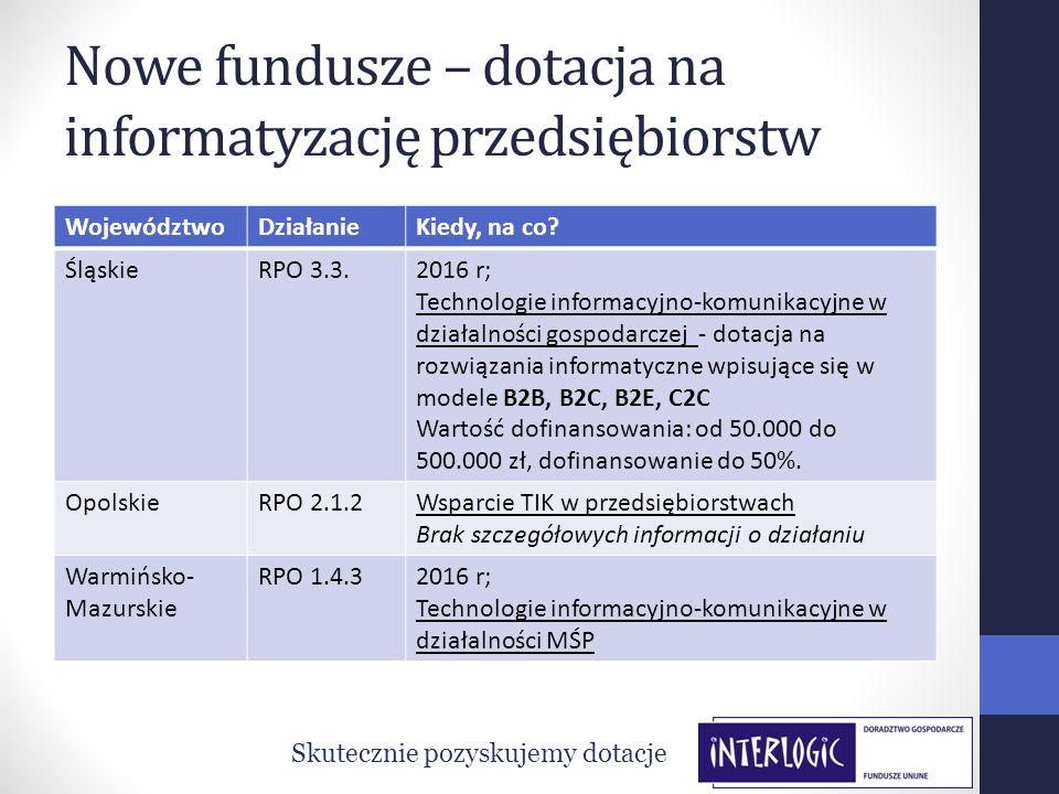 Nowe fundusze – dotacja na informatyzację przedsiębiorstw WojewództwoDziałanieKiedy, na co? ŚląskieRPO 3.3.2016 r; Technologie informacyjno-komunikacy