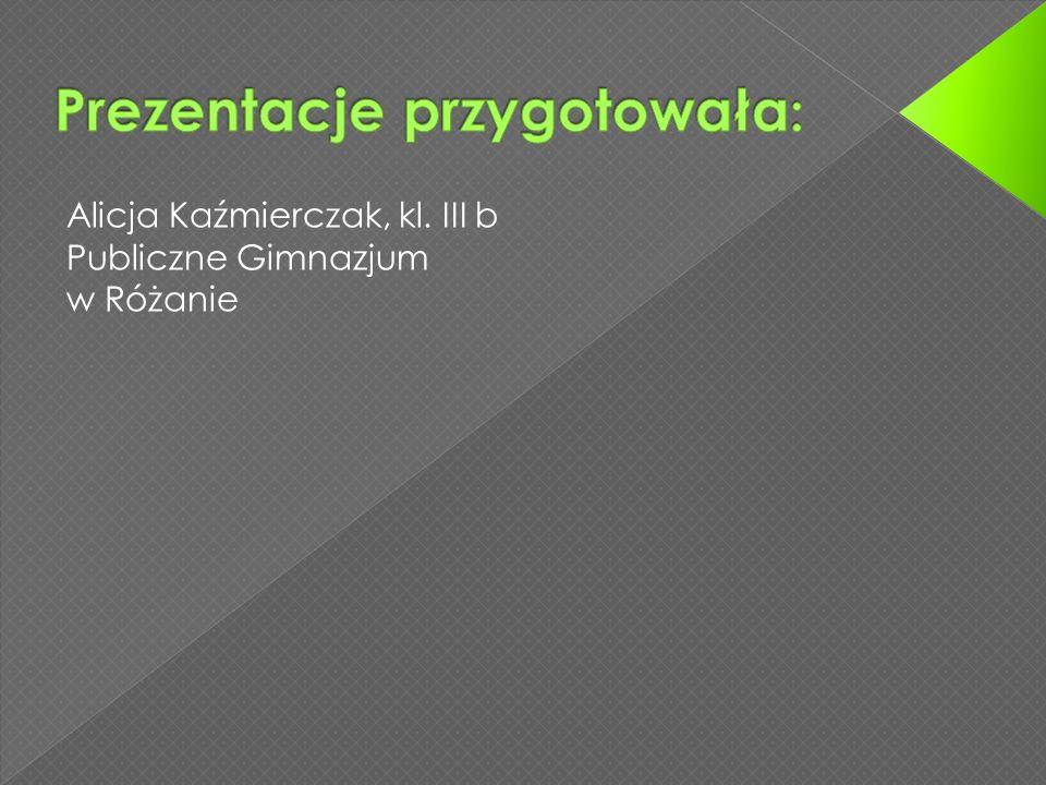 Alicja Kaźmierczak, kl. III b Publiczne Gimnazjum w Różanie