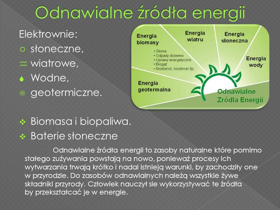Elektrownie:  słoneczne,  wiatrowe,  Wodne,  geotermiczne.  Biomasa i biopaliwa.  Baterie słoneczne Odnawialne źródła energii to zasoby naturaln