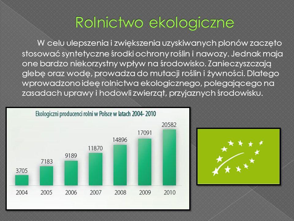 W celu ulepszenia i zwiększenia uzyskiwanych plonów zaczęto stosować syntetyczne środki ochrony roślin i nawozy. Jednak maja one bardzo niekorzystny w