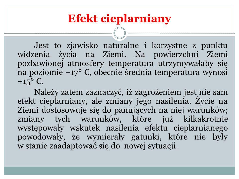 Efekt cieplarniany Jest to zjawisko naturalne i korzystne z punktu widzenia życia na Ziemi. Na powierzchni Ziemi pozbawionej atmosfery temperatura utr