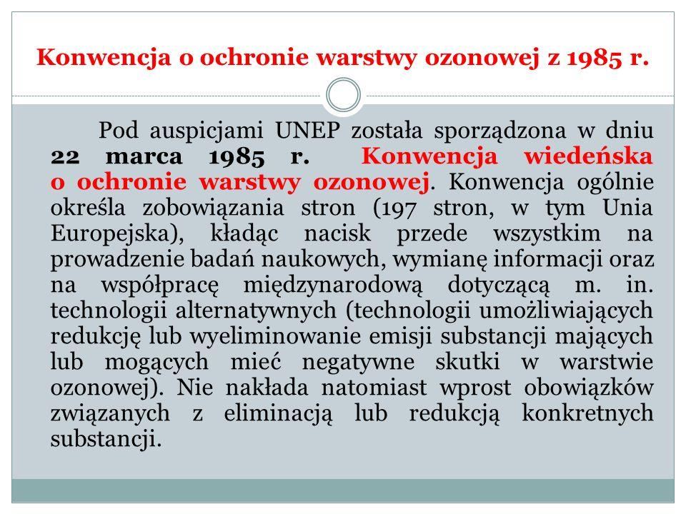 Konwencja o ochronie warstwy ozonowej z 1985 r. Pod auspicjami UNEP została sporządzona w dniu 22 marca 1985 r. Konwencja wiedeńska o ochronie warstwy