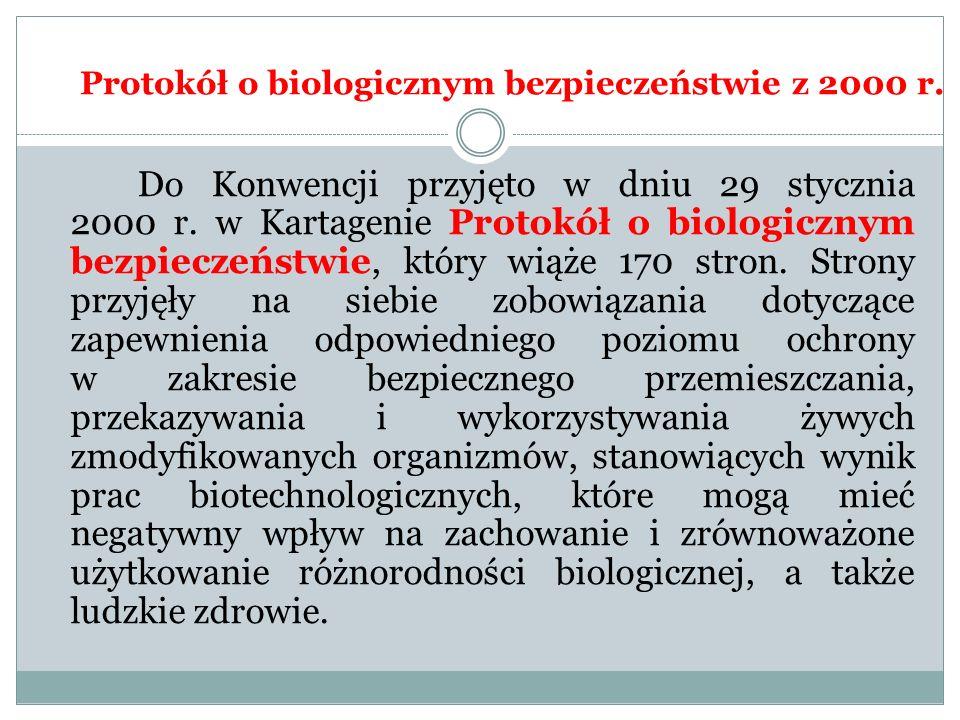 Protokół o biologicznym bezpieczeństwie z 2000 r. Do Konwencji przyjęto w dniu 29 stycznia 2000 r. w Kartagenie Protokół o biologicznym bezpieczeństwi