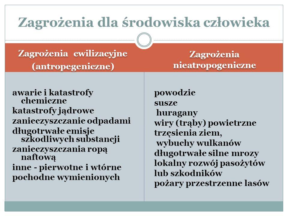 Zagrożenia cwilizacyjne (antropegeniczne) Zagrożenia cwilizacyjne (antropegeniczne) Zagrożenia nieatropogeniczne awarie i katastrofy chemiczne katastr