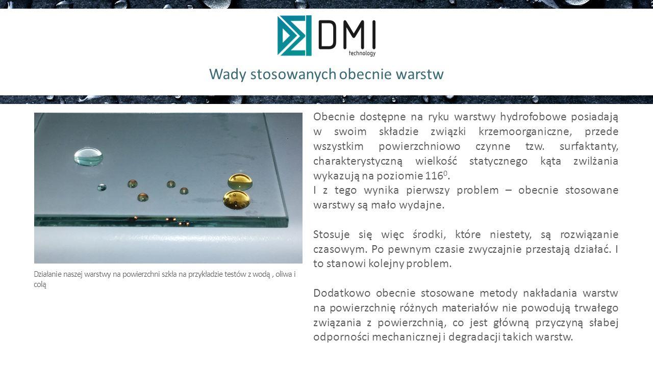 Rozwiązanie problemu Proponowane rozwiązanie przez firmę DMI wykorzystuje znajomość budowy atomowej substancji oleofobowych, a co za tym idzie, pozwala na świadome modyfikowanie składem w celu uzyskania pożądanego efektu oleofobowości na każdym materiale.