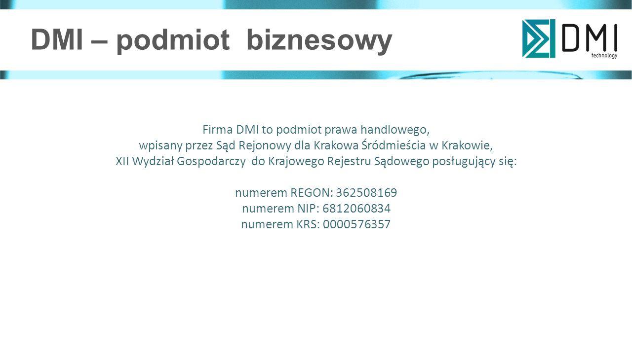 DMI – podmiot biznesowy Firma DMI to podmiot prawa handlowego, wpisany przez Sąd Rejonowy dla Krakowa Śródmieścia w Krakowie, XII Wydział Gospodarczy do Krajowego Rejestru Sądowego posługujący się: numerem REGON: 362508169 numerem NIP: 6812060834 numerem KRS: 0000576357