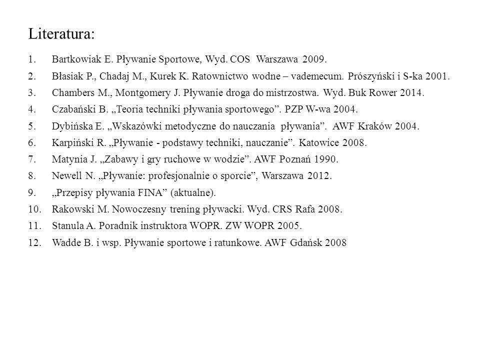 Literatura: 1.Bartkowiak E.Pływanie Sportowe, Wyd.