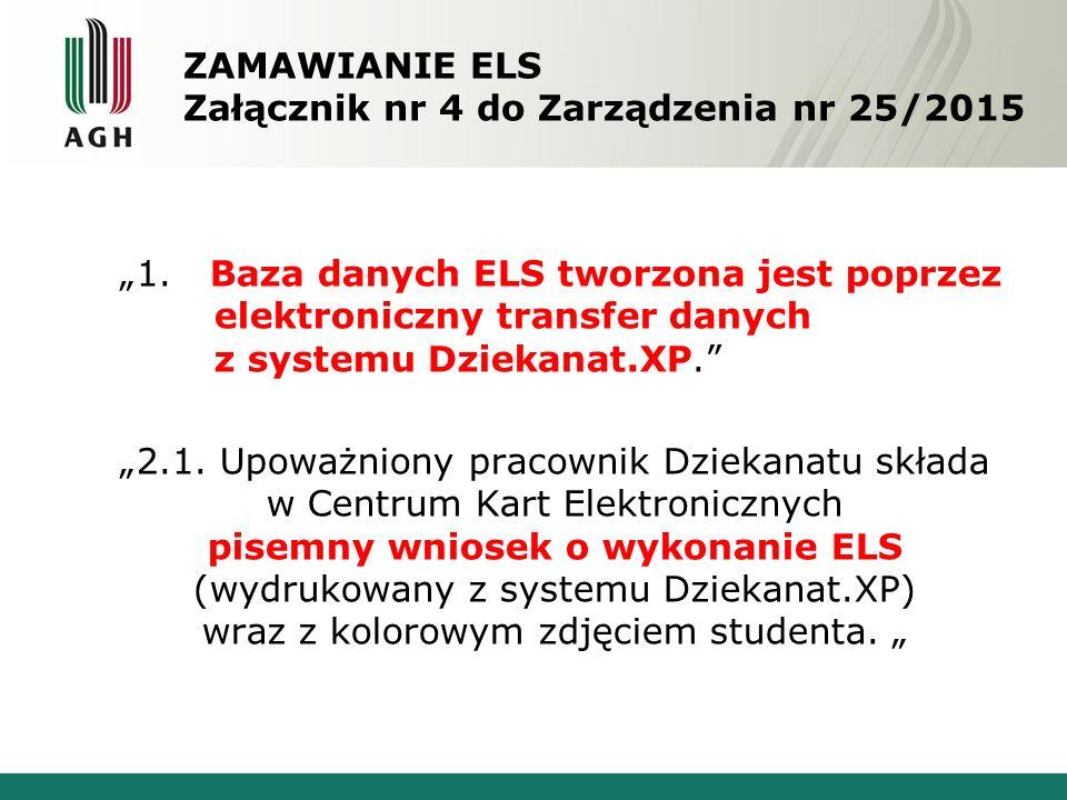 """ZAMAWIANIE ELS Załącznik nr 4 do Zarządzenia nr 25/2015 """"1."""
