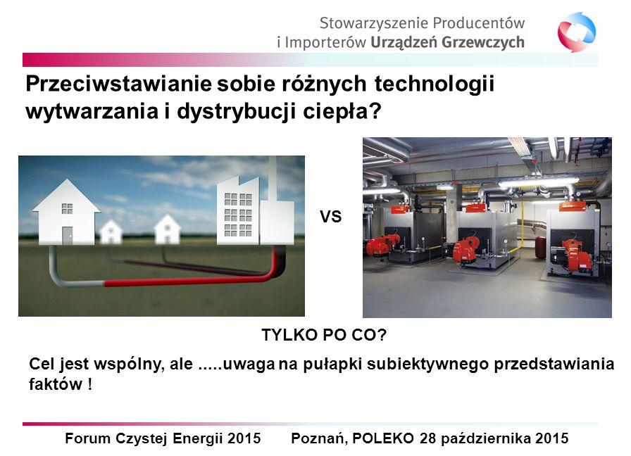Forum Czystej Energii 2015 Poznań, POLEKO 28 października 2015 Przeciwstawianie sobie różnych technologii wytwarzania i dystrybucji ciepła? Cel jest w