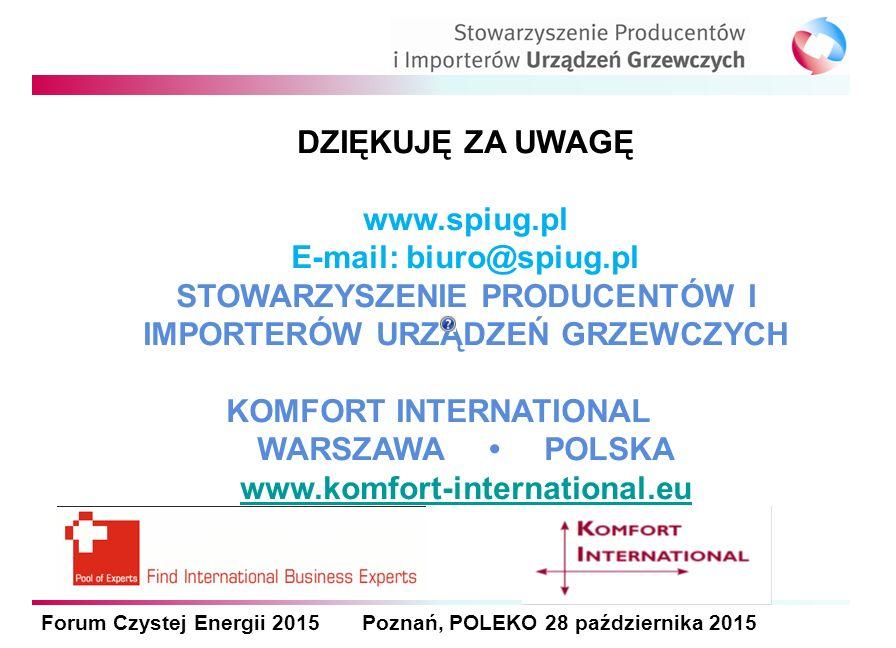 Forum Czystej Energii 2015 Poznań, POLEKO 28 października 2015 DZIĘKUJĘ ZA UWAGĘ www.spiug.pl E-mail: biuro@spiug.pl STOWARZYSZENIE PRODUCENTÓW I IMPORTERÓW URZĄDZEŃ GRZEWCZYCH KOMFORT INTERNATIONAL WARSZAWA POLSKA www.komfort-international.eu