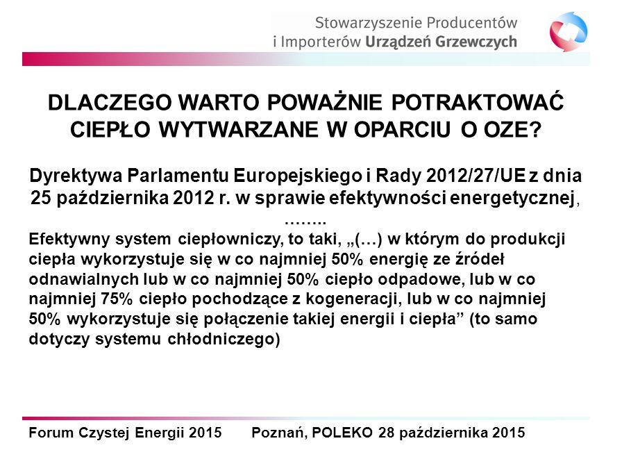Forum Czystej Energii 2015 Poznań, POLEKO 28 października 2015 DLACZEGO WARTO POWAŻNIE POTRAKTOWAĆ CIEPŁO WYTWARZANE W OPARCIU O OZE? Dyrektywa Parlam