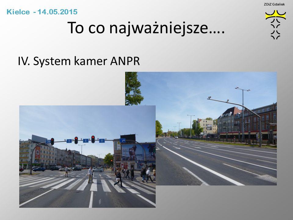 To co najważniejsze…. IV. System kamer ANPR Kielce - 14.05.2015 ZDiZ Gdańsk