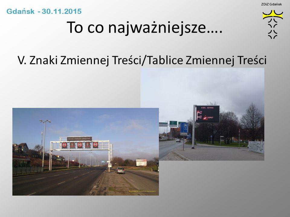 To co najważniejsze…. V. Znaki Zmiennej Treści/Tablice Zmiennej Treści Gda ń sk - 30.11.2015 ZDiZ Gdańsk