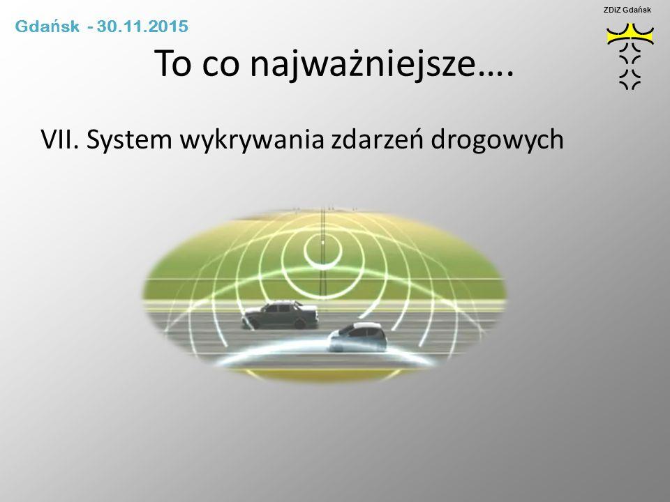 To co najważniejsze…. VII. System wykrywania zdarzeń drogowych ZDiZ Gdańsk Gda ń sk - 30.11.2015