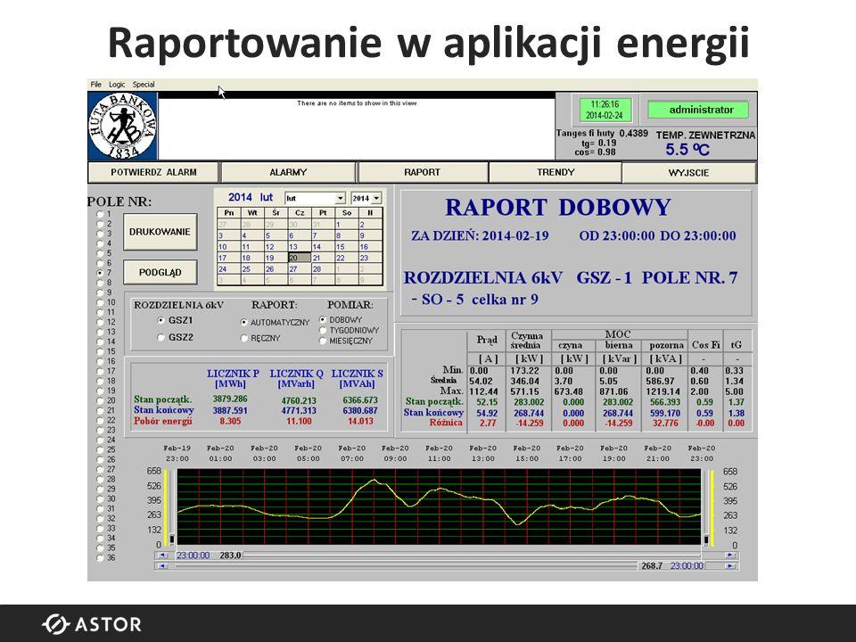 Raportowanie w aplikacji energii