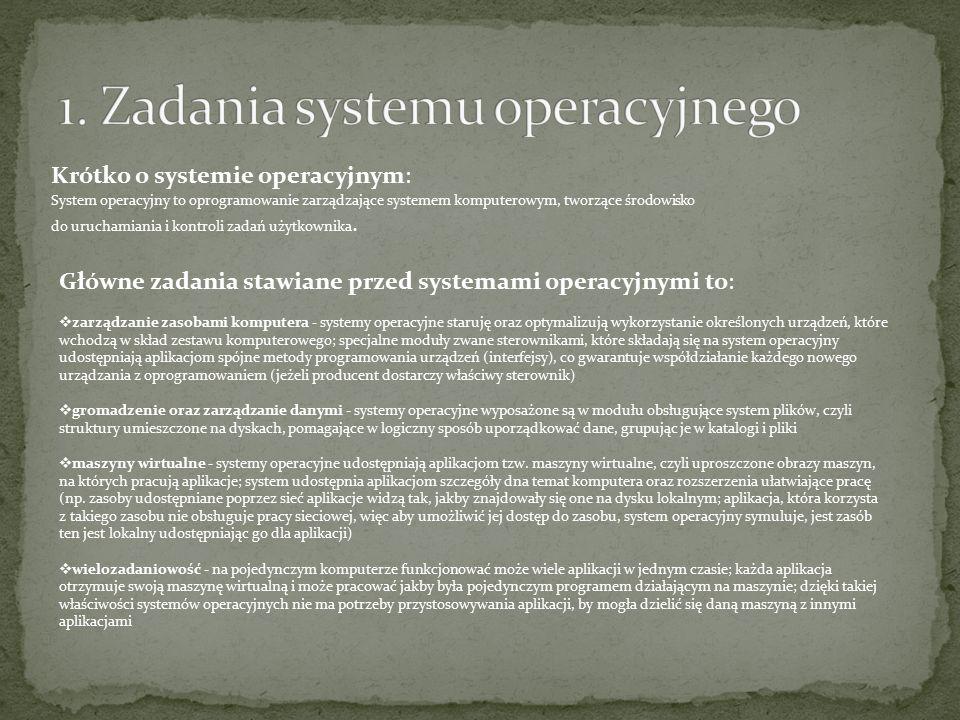Krótko o systemie operacyjnym: System operacyjny to oprogramowanie zarządzające systemem komputerowym, tworzące środowisko do uruchamiania i kontroli zadań użytkownika.