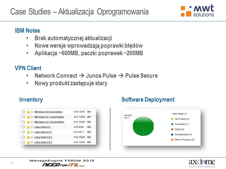 Case Studies – Aktualizacja Oprogramowania 11 IBM Notes Brak automatycznej aktualizacji Nowe wersje wprowadzają poprawki błędów Aplikacja ~600MB, paczki poprawek ~200MB VPN Client Network Connect  Junos Pulse  Pulse Secure Nowy produkt zastępuje stary InventorySoftware Deployment