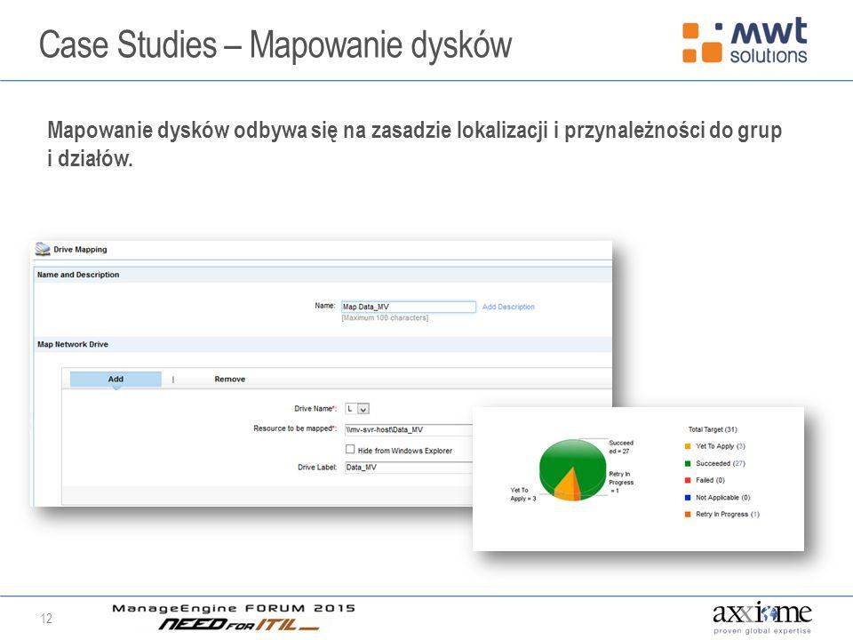 Case Studies – Mapowanie dysków 12 Mapowanie dysków odbywa się na zasadzie lokalizacji i przynależności do grup i działów.