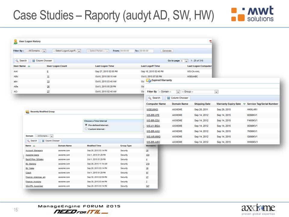 Case Studies – Raporty (audyt AD, SW, HW) 15