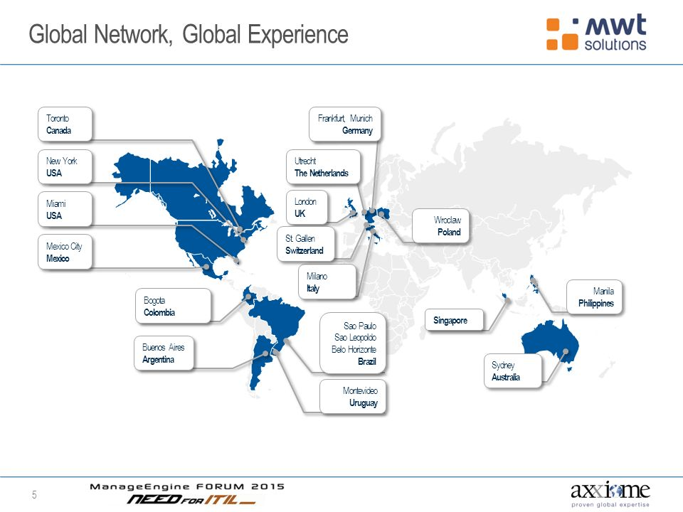 Global Network, Global Experience 5 Toronto Canada Mexico City Mexico Mexico City Mexico Miami USA New York USA Montevideo Uruguay Buenos Aires Argentina Sao Paulo Sao Leopoldo Belo Horizonte Brazil Bogota Colombia Milano Italy Wroclaw Poland Frankfurt, Munich Germany London UK Utrecht The Netherlands Singapore Manila Philippines St.