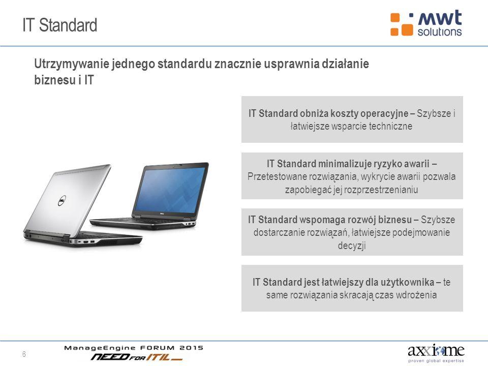 IT Standard 6 Utrzymywanie jednego standardu znacznie usprawnia działanie biznesu i IT IT Standard obniża koszty operacyjne – Szybsze i łatwiejsze wsparcie techniczne IT Standard minimalizuje ryzyko awarii – Przetestowane rozwiązania, wykrycie awarii pozwala zapobiegać jej rozprzestrzenianiu IT Standard wspomaga rozwój biznesu – Szybsze dostarczanie rozwiązań, łatwiejsze podejmowanie decyzji IT Standard jest łatwiejszy dla użytkownika – te same rozwiązania skracają czas wdrożenia