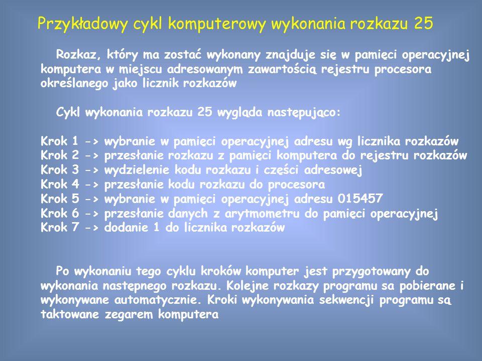 Przykładowy cykl komputerowy wykonania rozkazu 25 Rozkaz, który ma zostać wykonany znajduje się w pamięci operacyjnej komputera w miejscu adresowanym zawartością rejestru procesora określanego jako licznik rozkazów Cykl wykonania rozkazu 25 wygląda następująco: Krok 1 -> wybranie w pamięci operacyjnej adresu wg licznika rozkazów Krok 2 -> przesłanie rozkazu z pamięci komputera do rejestru rozkazów Krok 3 -> wydzielenie kodu rozkazu i części adresowej Krok 4 -> przesłanie kodu rozkazu do procesora Krok 5 -> wybranie w pamięci operacyjnej adresu 015457 Krok 6 -> przesłanie danych z arytmometru do pamięci operacyjnej Krok 7 -> dodanie 1 do licznika rozkazów Po wykonaniu tego cyklu kroków komputer jest przygotowany do wykonania następnego rozkazu.