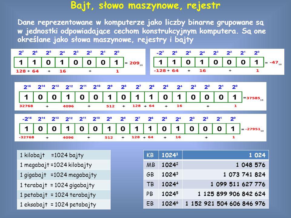 Ciąg bitów zapisany w słowie maszynowym może być interpretowany jako liczba, rozkaz maszynowy albo kod znaku graficznego.