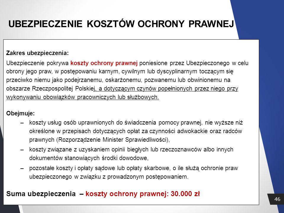 46 UBEZPIECZENIE KOSZTÓW OCHRONY PRAWNEJ Zakres ubezpieczenia: Ubezpieczenie pokrywa koszty ochrony prawnej poniesione przez Ubezpieczonego w celu obrony jego praw, w postępowaniu karnym, cywilnym lub dyscyplinarnym toczącym się przeciwko niemu jako podejrzanemu, oskarżonemu, pozwanemu lub obwinionemu na obszarze Rzeczpospolitej Polskiej, a dotyczącym czynów popełnionych przez niego przy wykonywaniu obowiązków pracowniczych lub służbowych.