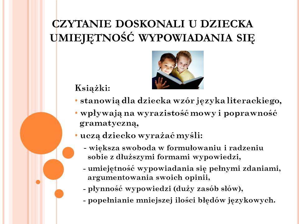 CZYTANIE DOSKONALI U DZIECKA UMIEJĘTNOŚĆ WYPOWIADANIA SIĘ Książki: stanowią dla dziecka wzór języka literackiego, wpływają na wyrazistość mowy i popra