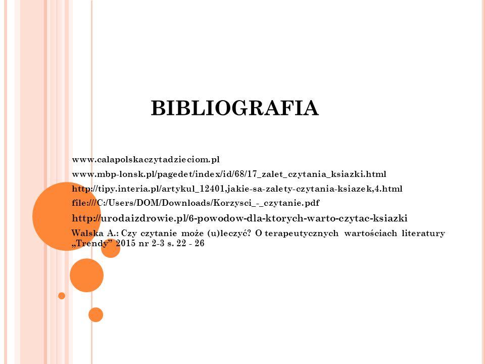 BIBLIOGRAFIA www.calapolskaczytadzieciom.pl www.mbp-lonsk.pl/pagedet/index/id/68/17_zalet_czytania_ksiazki.html http://tipy.interia.pl/artykul_12401,j