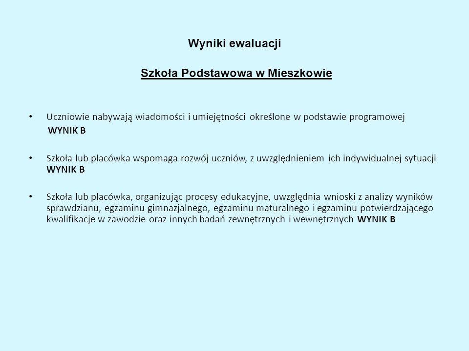Wyniki ewaluacji Szkoła Podstawowa w Mieszkowie Uczniowie nabywają wiadomości i umiejętności określone w podstawie programowej WYNIK B Szkoła lub plac