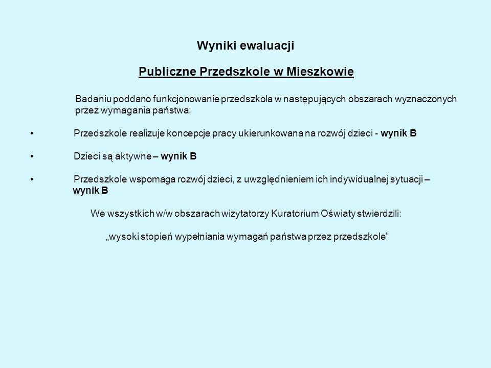 Wyniki ewaluacji Publiczne Przedszkole w Mieszkowie Badaniu poddano funkcjonowanie przedszkola w następujących obszarach wyznaczonych przez wymagania