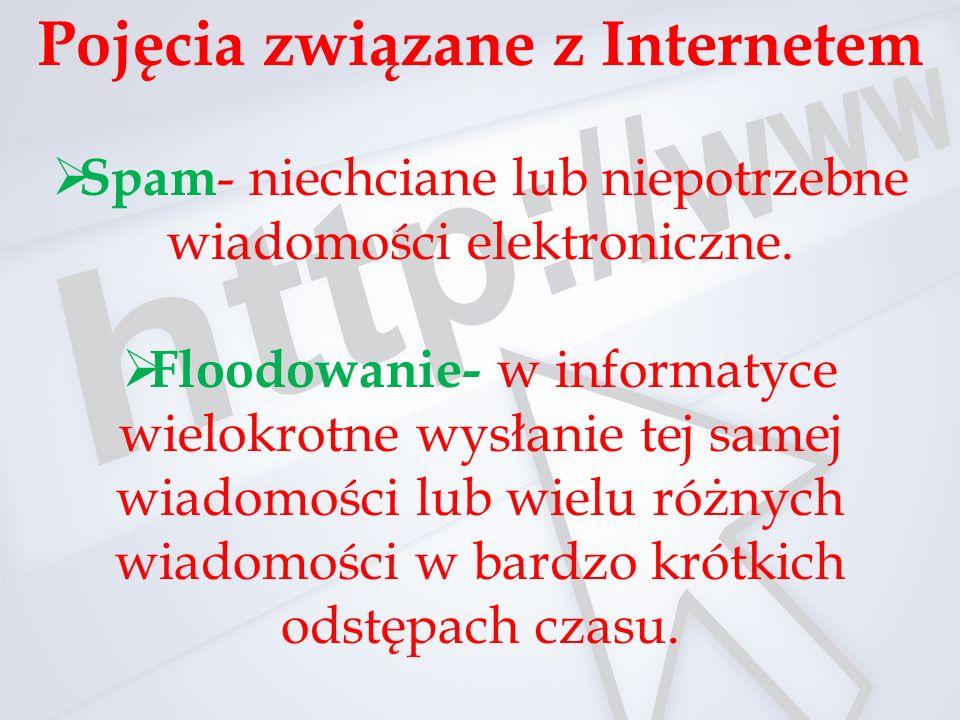 Pojęcia związane z Internetem  Spam - niechciane lub niepotrzebne wiadomości elektroniczne.