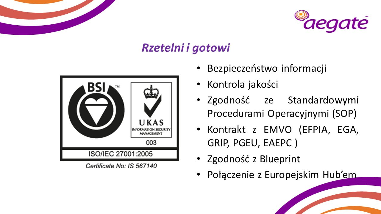 Rzetelni i gotowi Bezpieczeństwo informacji Kontrola jakości Zgodność ze Standardowymi Procedurami Operacyjnymi (SOP) Kontrakt z EMVO (EFPIA, EGA, GRI