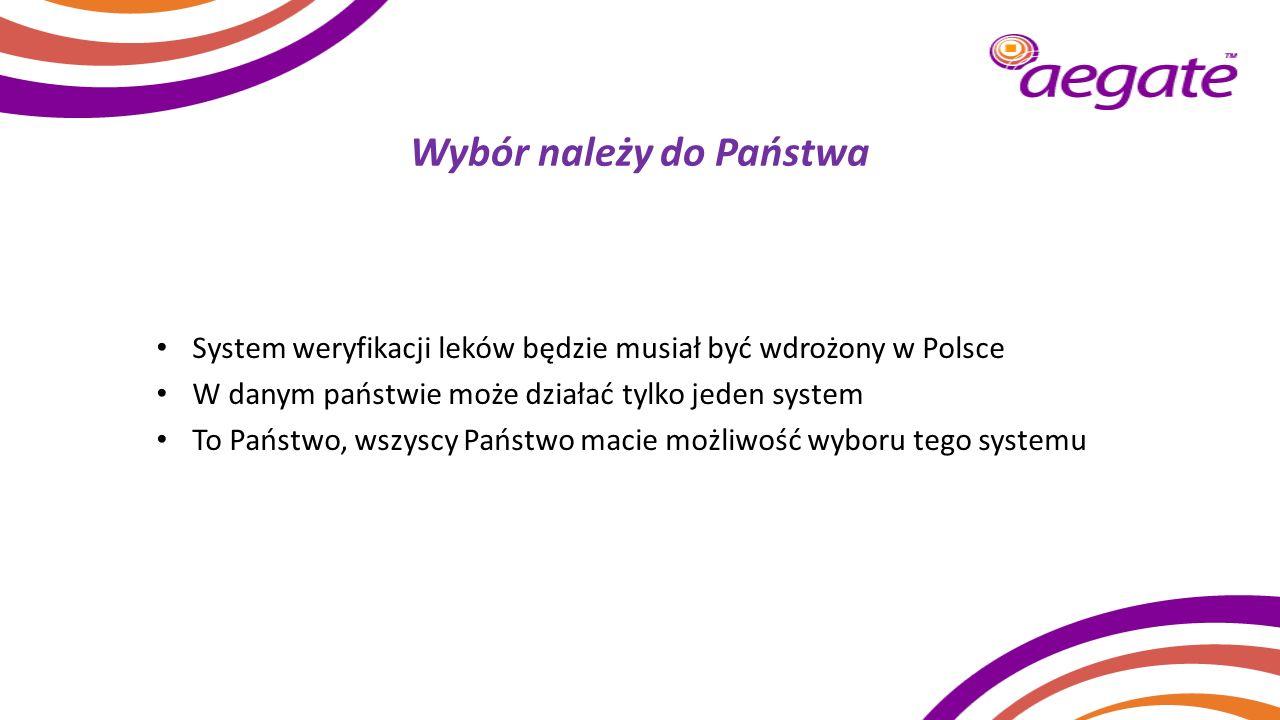 Wybór należy do Państwa System weryfikacji leków będzie musiał być wdrożony w Polsce W danym państwie może działać tylko jeden system To Państwo, wszy