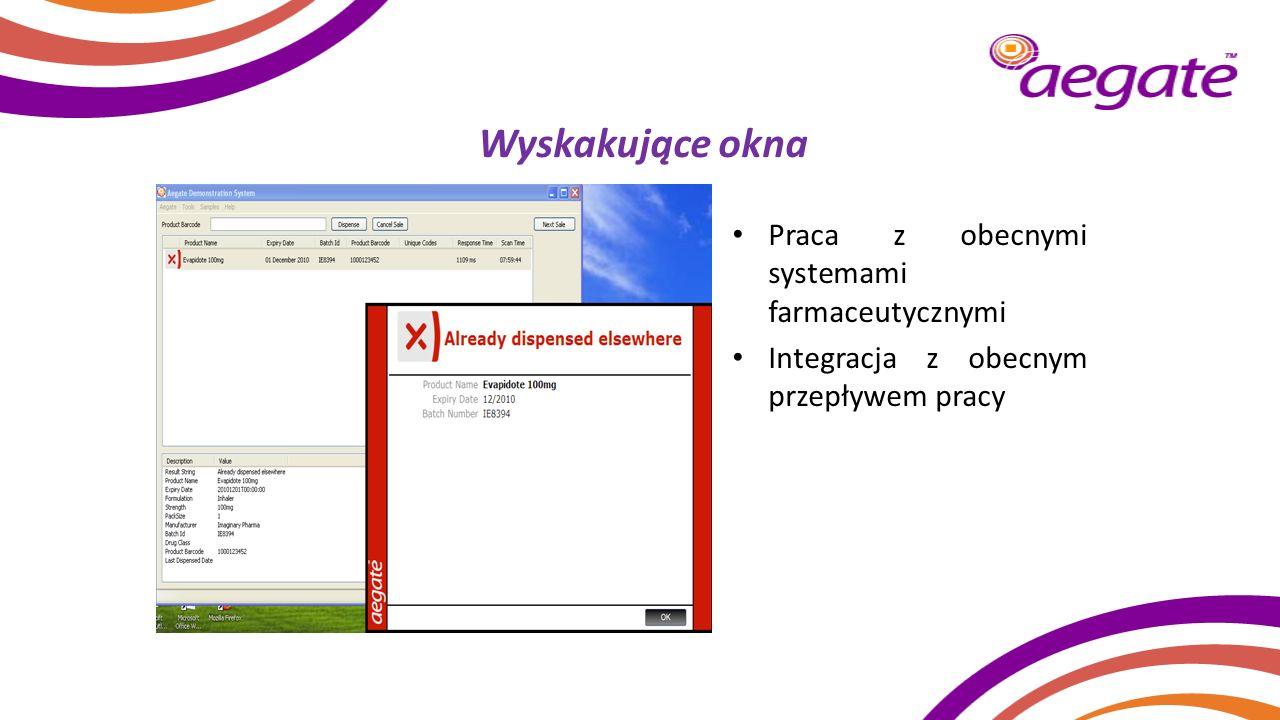 Wyskakujące okna Praca z obecnymi systemami farmaceutycznymi Integracja z obecnym przepływem pracy