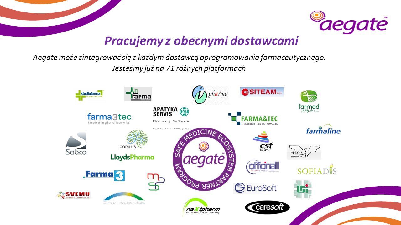 Pracujemy z obecnymi dostawcami Aegate może zintegrować się z każdym dostawcą oprogramowania farmaceutycznego. Jesteśmy już na 71 różnych platformach