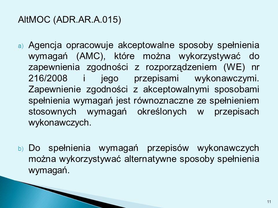 AltMOC (ADR.AR.A.015) a) Agencja opracowuje akceptowalne sposoby spełnienia wymagań (AMC), które można wykorzystywać do zapewnienia zgodności z rozporządzeniem (WE) nr 216/2008 i jego przepisami wykonawczymi.