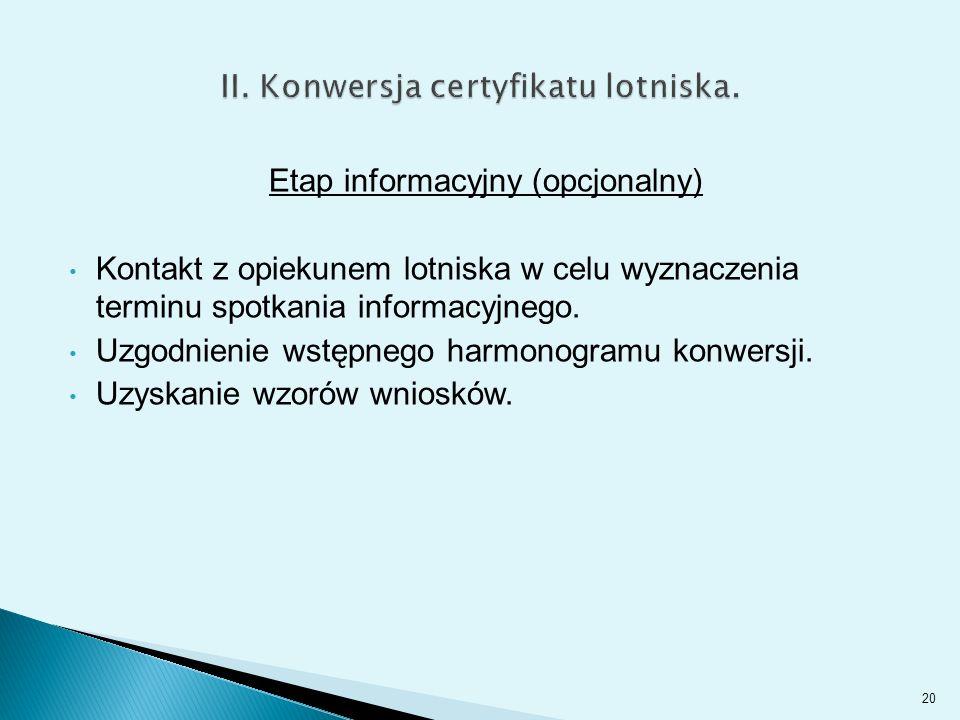 Etap informacyjny (opcjonalny) Kontakt z opiekunem lotniska w celu wyznaczenia terminu spotkania informacyjnego.