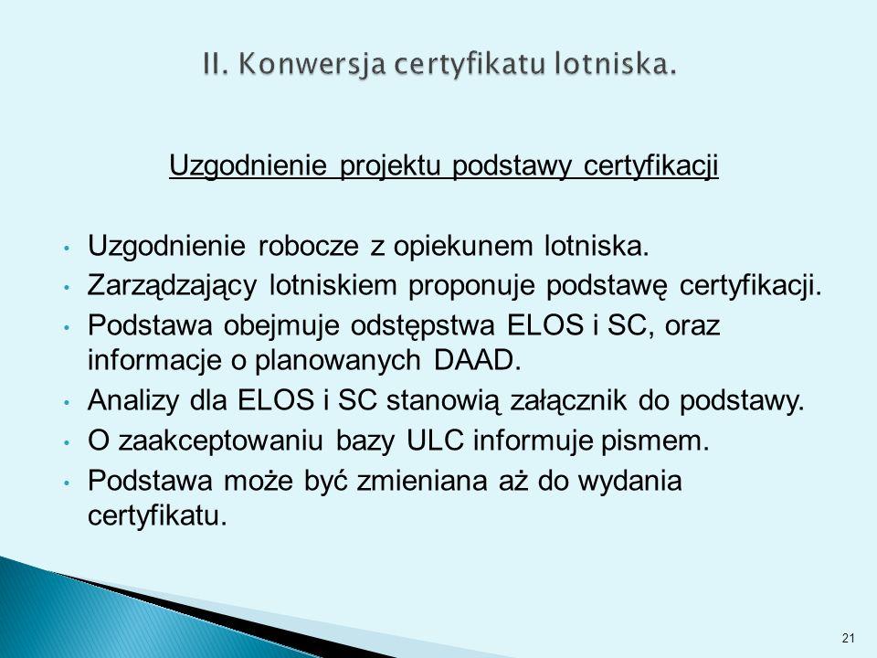 Uzgodnienie projektu podstawy certyfikacji Uzgodnienie robocze z opiekunem lotniska.