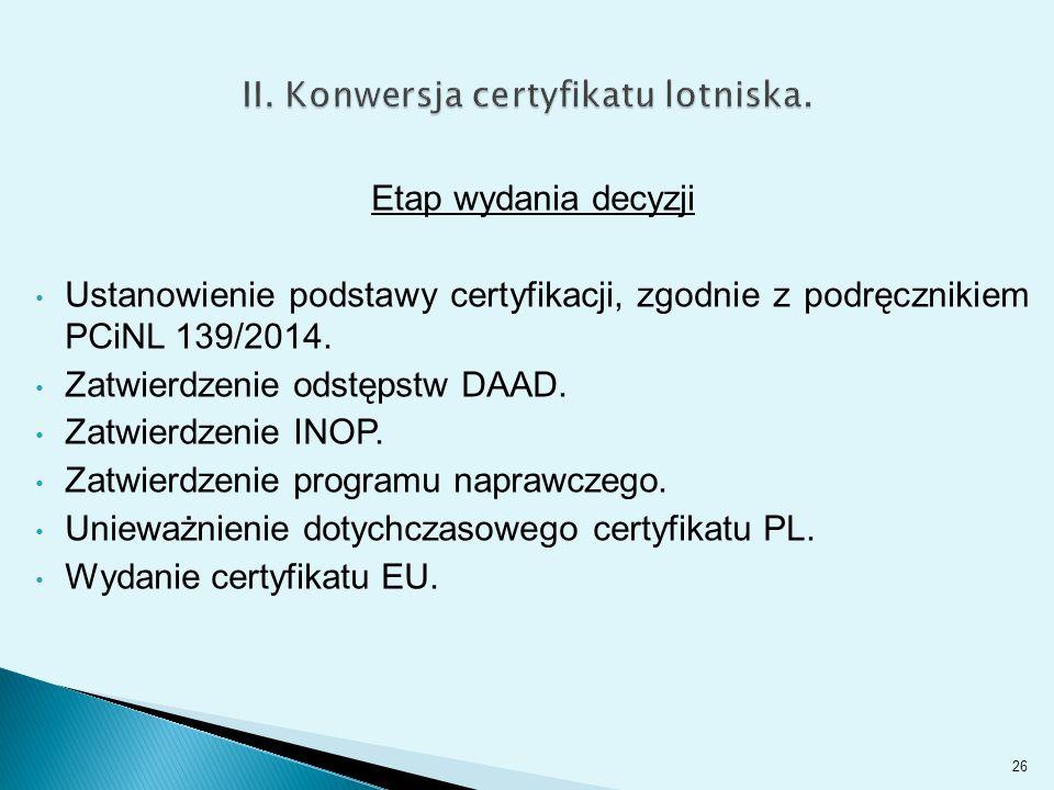 Etap wydania decyzji Ustanowienie podstawy certyfikacji, zgodnie z podręcznikiem PCiNL 139/2014.