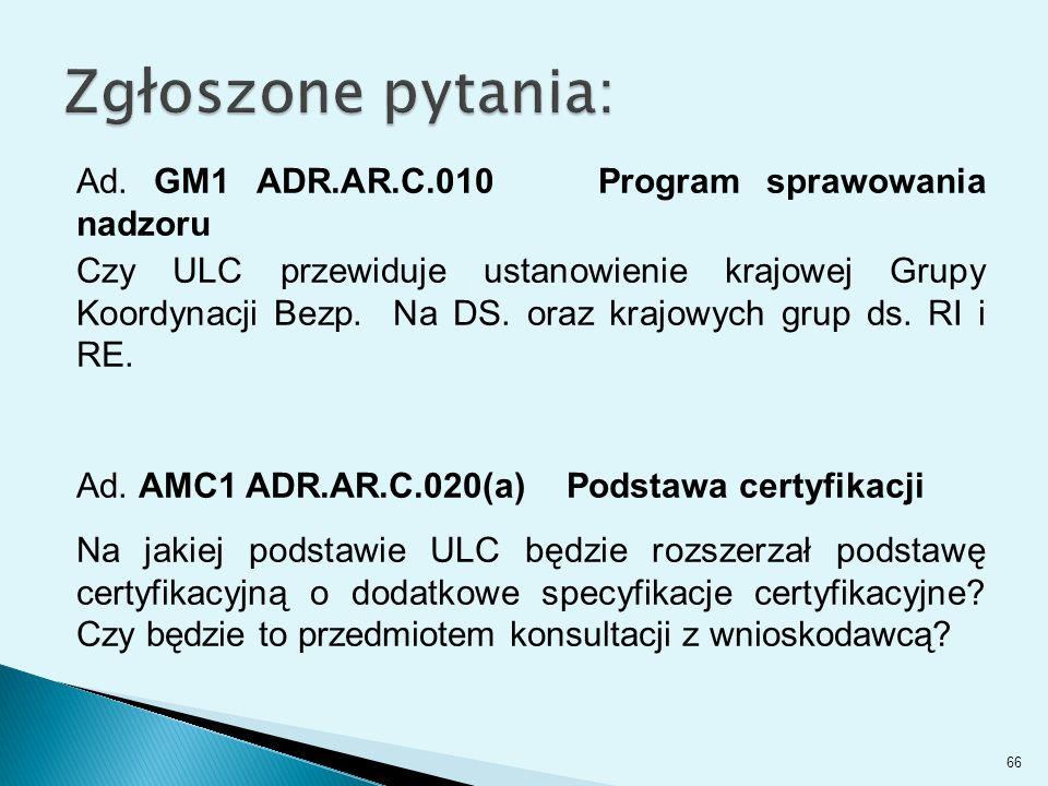 Ad. GM1 ADR.AR.C.010 Program sprawowania nadzoru Czy ULC przewiduje ustanowienie krajowej Grupy Koordynacji Bezp. Na DS. oraz krajowych grup ds. RI i