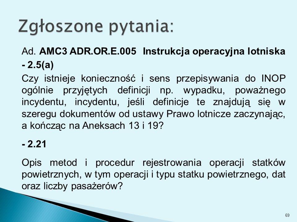 Ad. AMC3 ADR.OR.E.005 Instrukcja operacyjna lotniska - 2.5(a) Czy istnieje konieczność i sens przepisywania do INOP ogólnie przyjętych definicji np. w