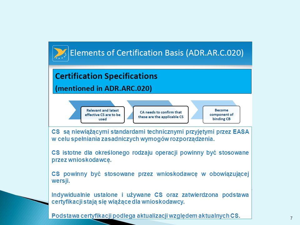 7 CS są niewiążącymi standardami technicznymi przyjętymi przez EASA w celu spełniania zasadniczych wymogów rozporządzenia.