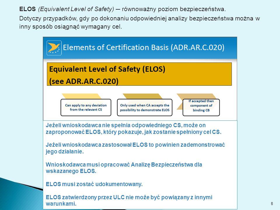 8 Jeżeli wnioskodawca nie spełnia odpowiedniego CS, może on zaproponować ELOS, który pokazuje, jak zostanie spełniony cel CS.