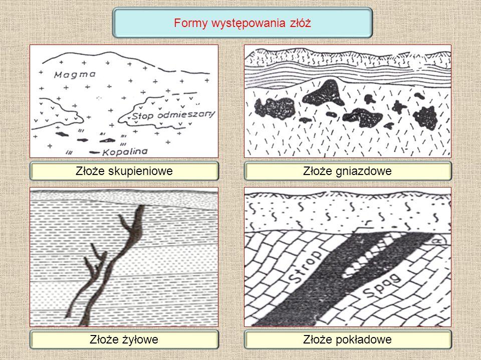 Złoże skupienioweZłoże gniazdowe Złoże żyłoweZłoże pokładowe Formy występowania złóż