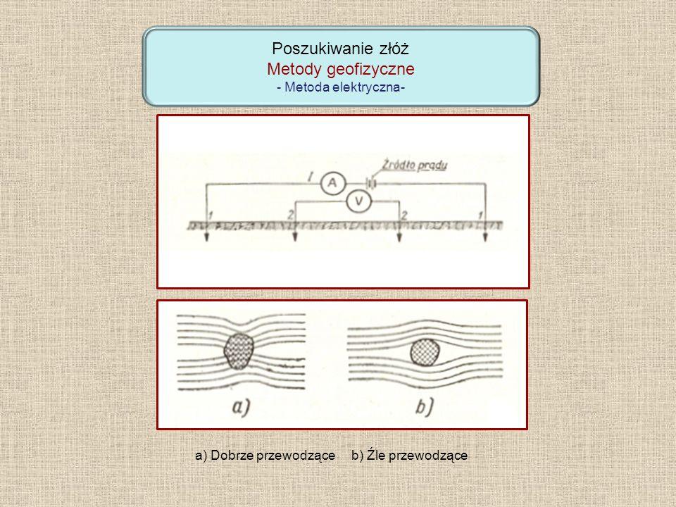 Poszukiwanie złóż Metody geofizyczne - Metoda elektryczna- a) Dobrze przewodzące b) Źle przewodzące